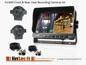 Forklift Recorder monitor Front + Rear Camera system kit
