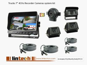 7 inch 4CHs Recorder Cameras system kit for Truck