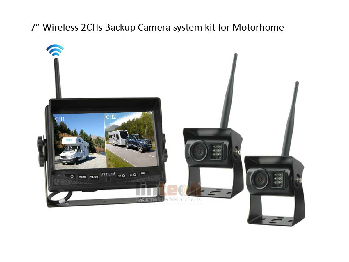 "7"" Wireless Backup camera system for towing motorhome"