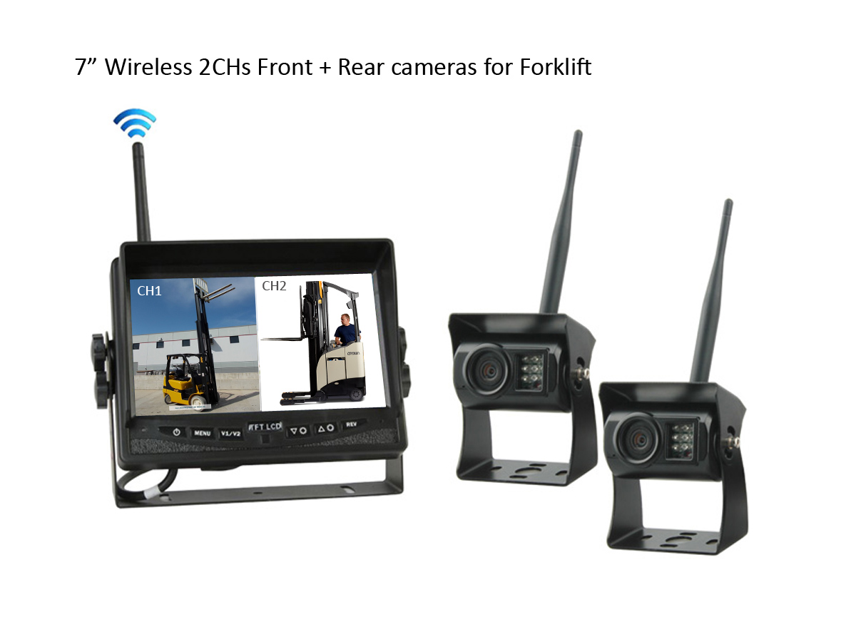 No interference 7″ Wireless Front / Rear view Cameras for reach trucks