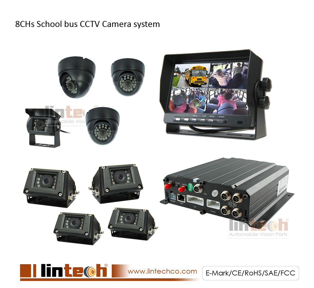 8CH MDVR CCTV Security Camera System for School Bus with Free Client Software