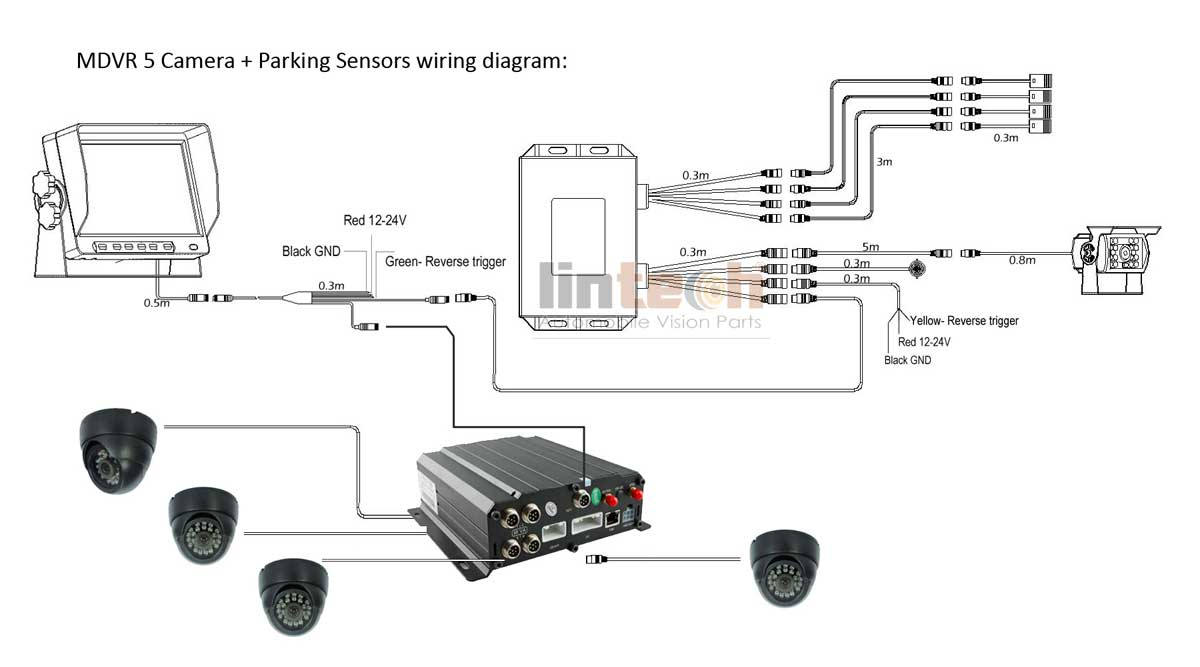tft mirror backup camera wiring diagram 4 chs school bus dvr cctv camera system with parking sensor backup sensor wiring diagram