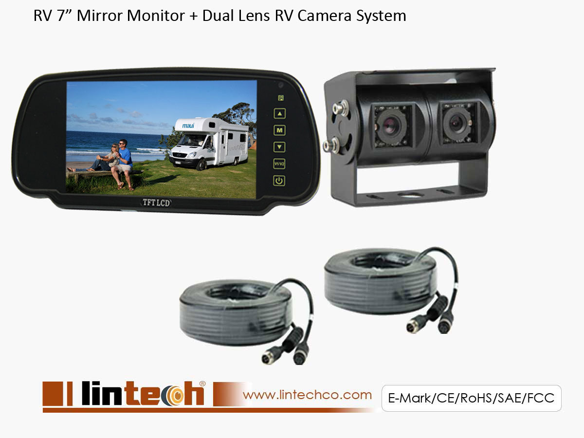 Rear View Camera System >> 7 Inch Mirror Monitor Dual Lens Rear View Mirror Backup