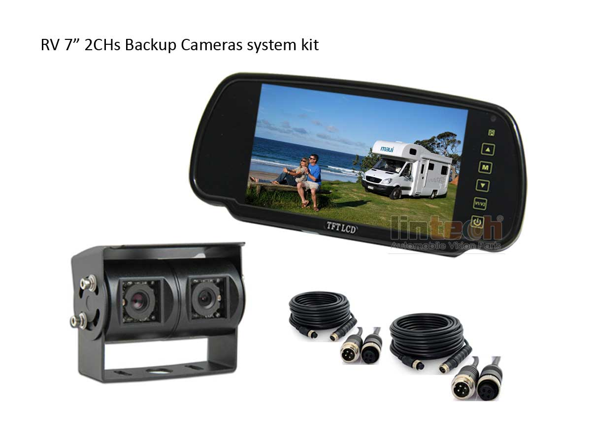 Twin Lens Rear View Backup Cameras System For Rv Motorhome