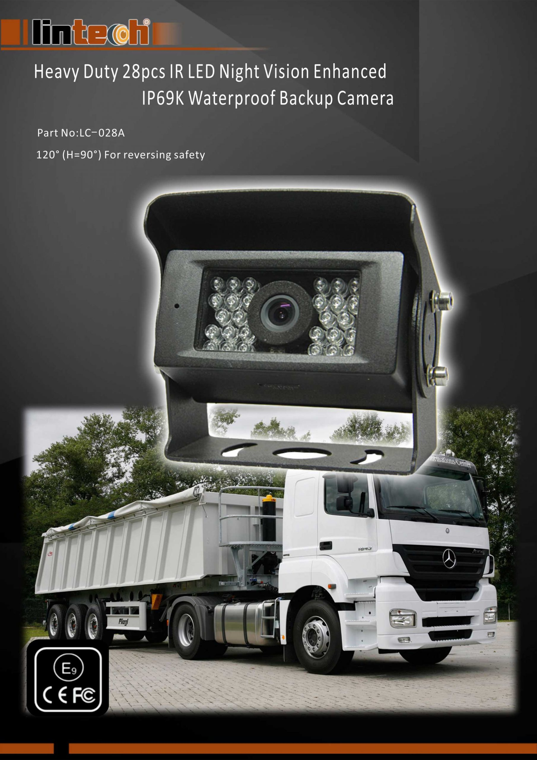 1.Heavy Duty 28pcs IR LED Night Vision Enhanced IP69 Waterproof Backup Camera