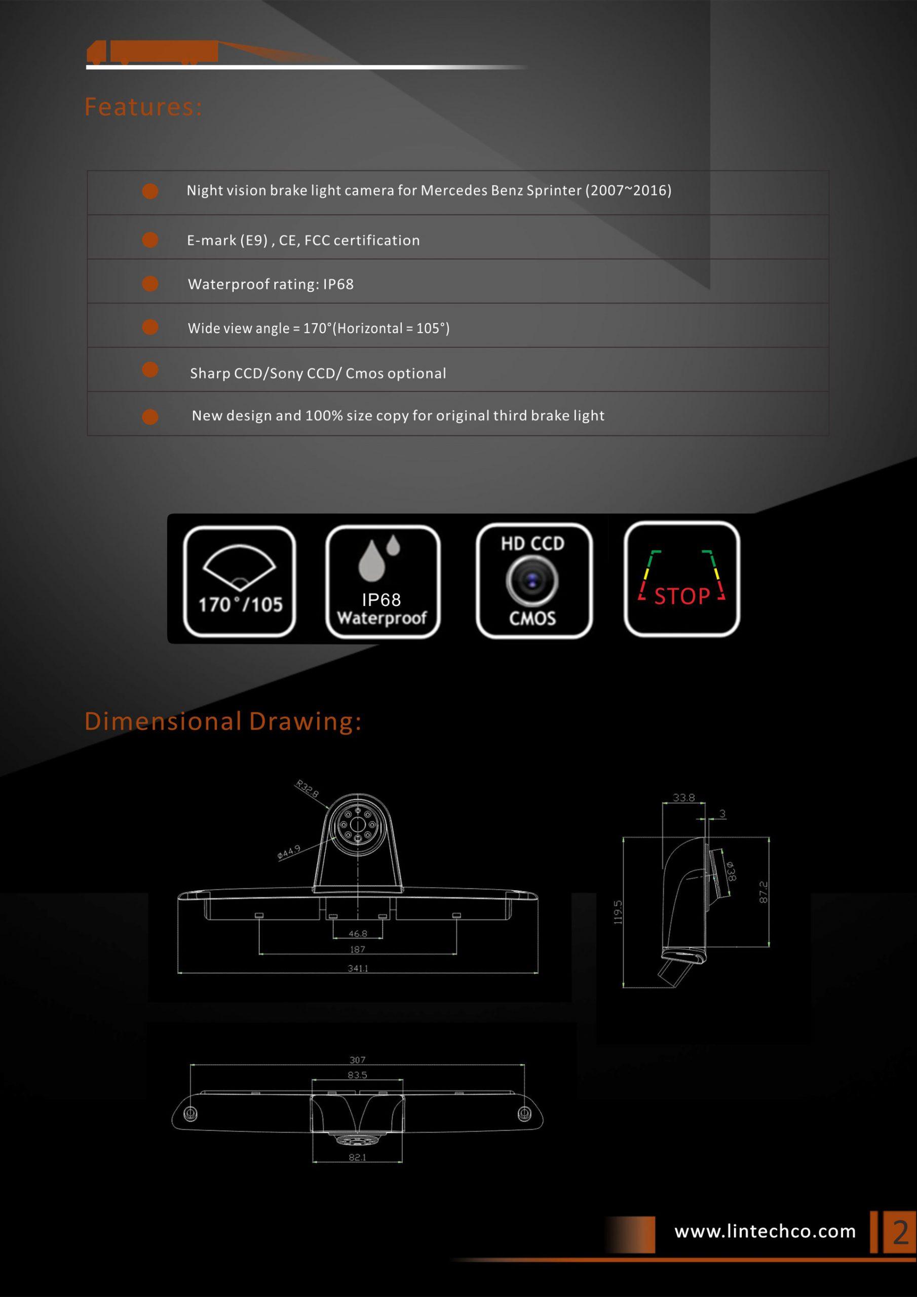 2. Backup Night Vision Brake Light Camera for Mercedes Benz Sprinter