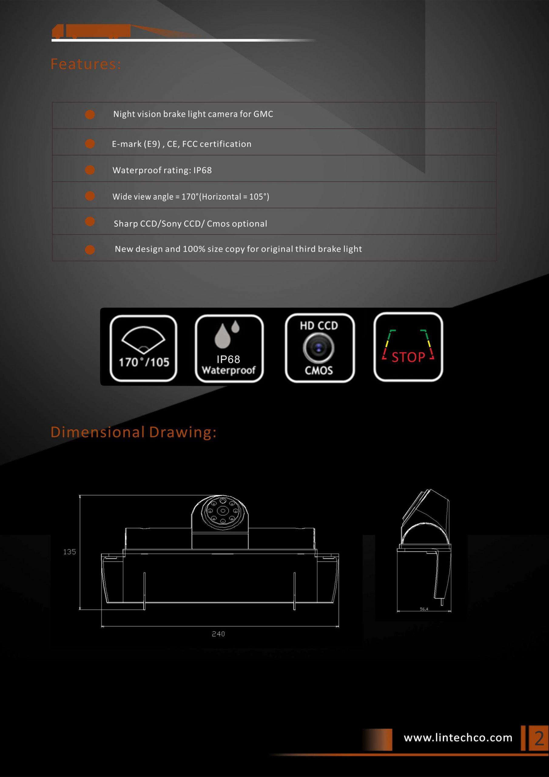 2. Brake Light Backup Camera for GMC