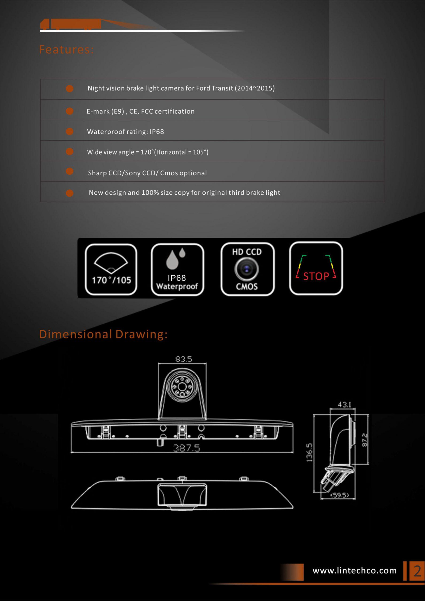 2. Night Vision Brake Light Camera for Ford Transit