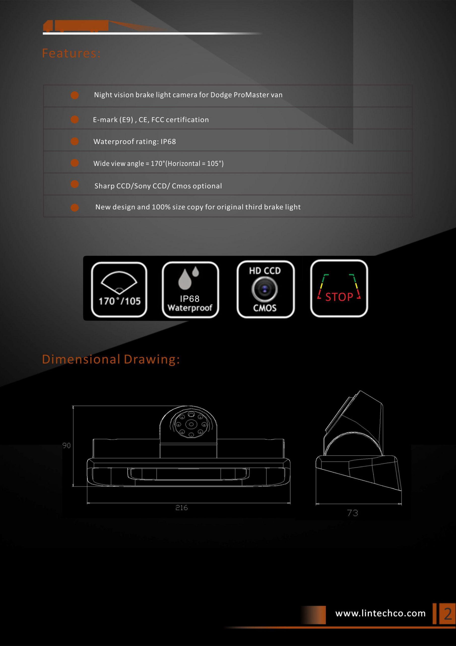 2. Rear View Camera for Dodge ProMaster