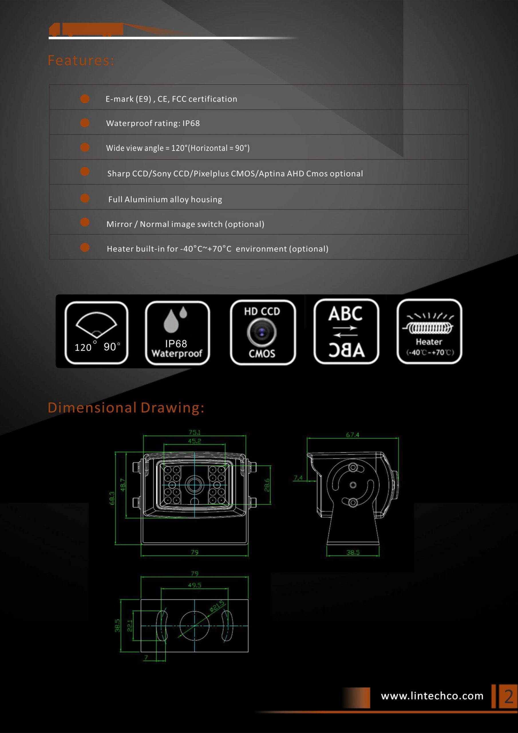 2.18pcs-IR-LED-Night-Vision-Waterproof-Rear-View-Camera