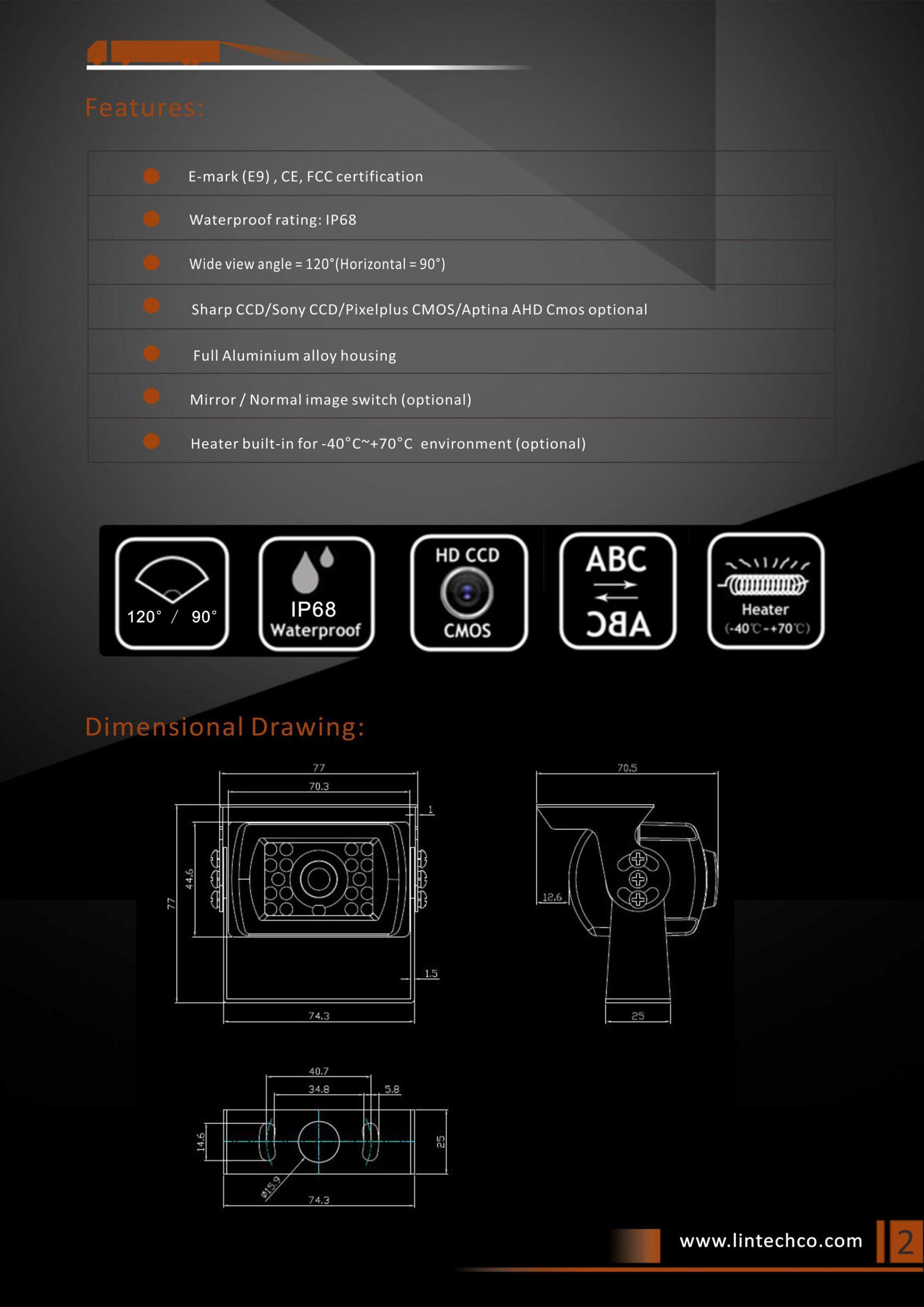 2.Classics Design Night Vision Waterproof Backup Camera