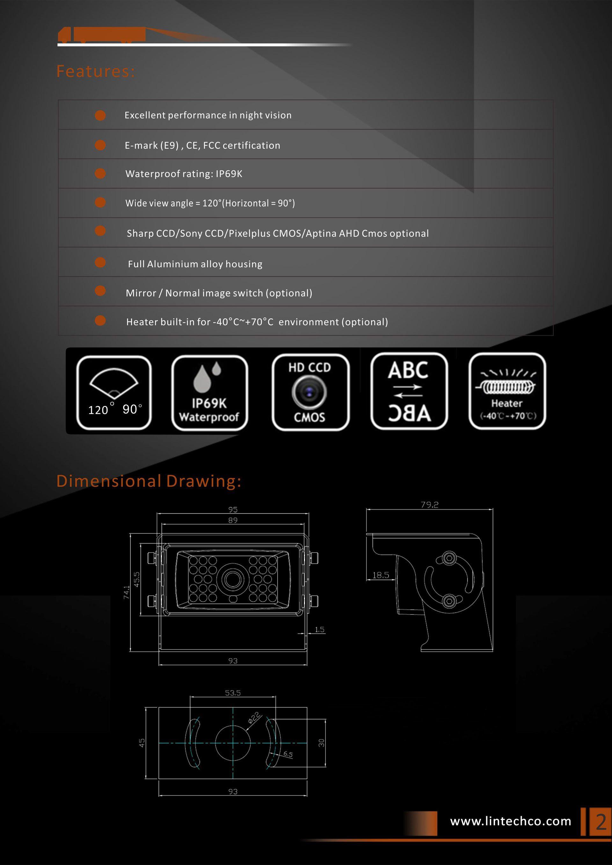 2.Heavy Duty 28pcs IR LED Night Vision Enhanced IP69 Waterproof Backup Camera