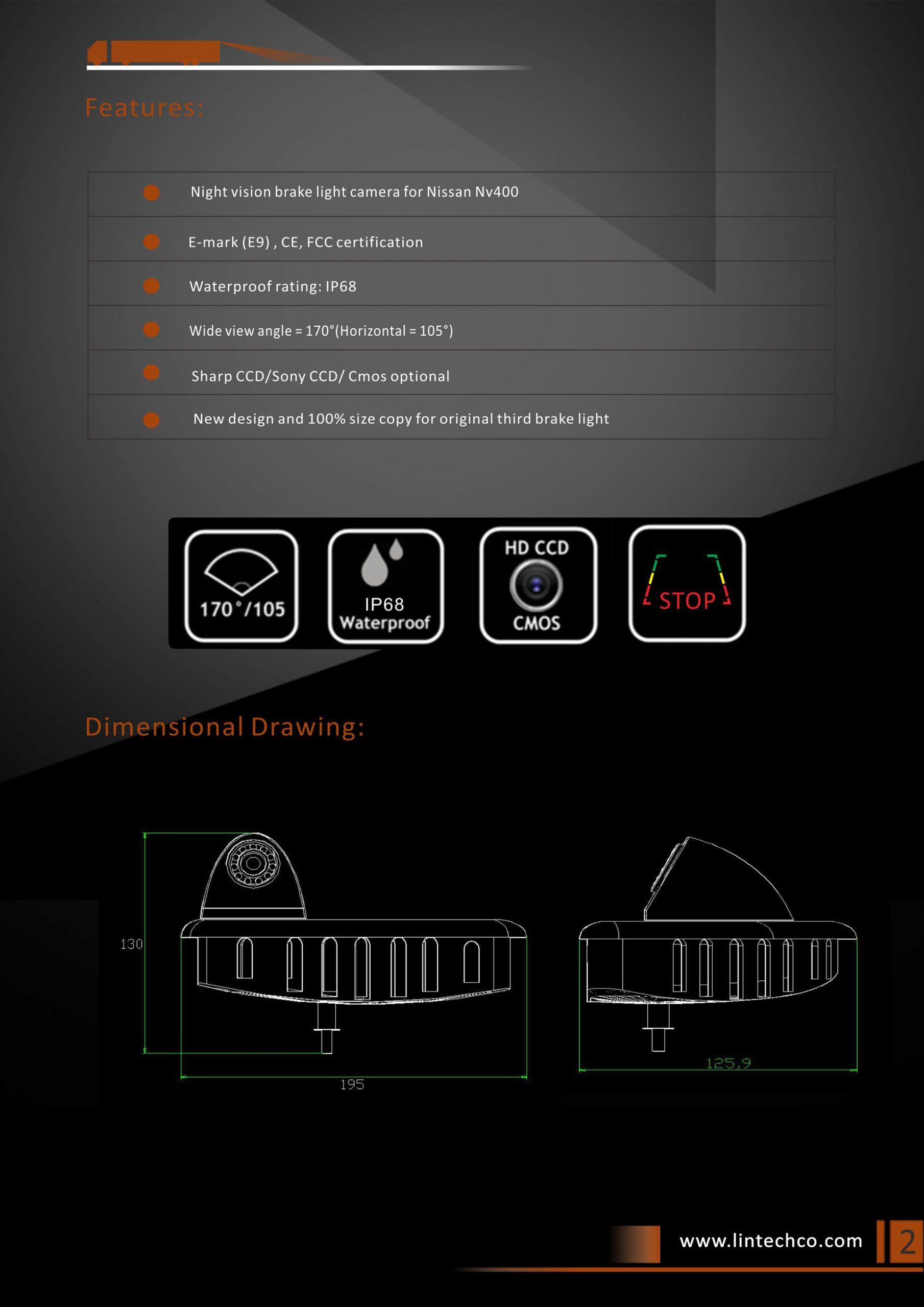 2.Night Vision Brake Light Camera For Nissan NV400