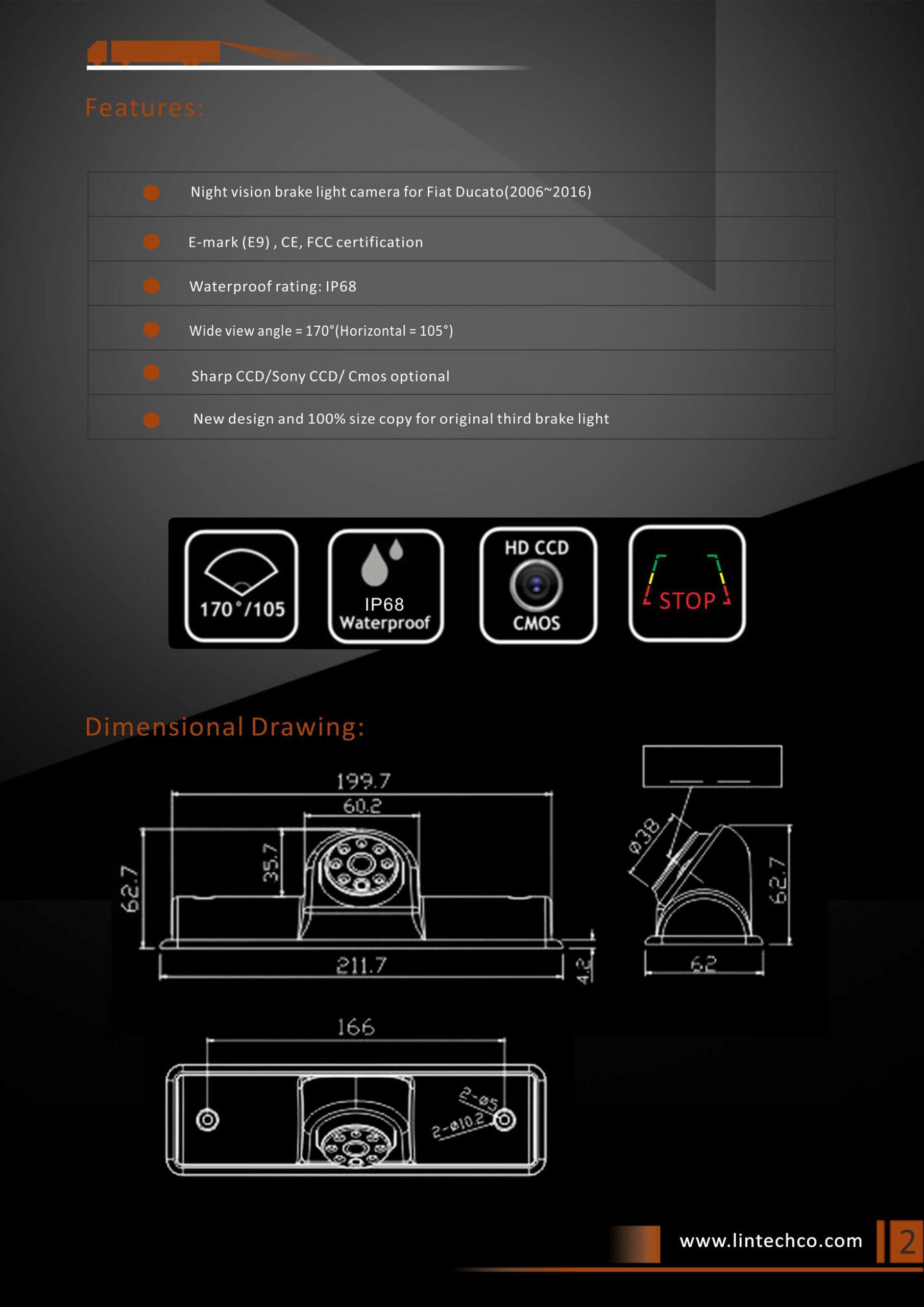 2.Night Vision Brake Light Camera for Universal Vans