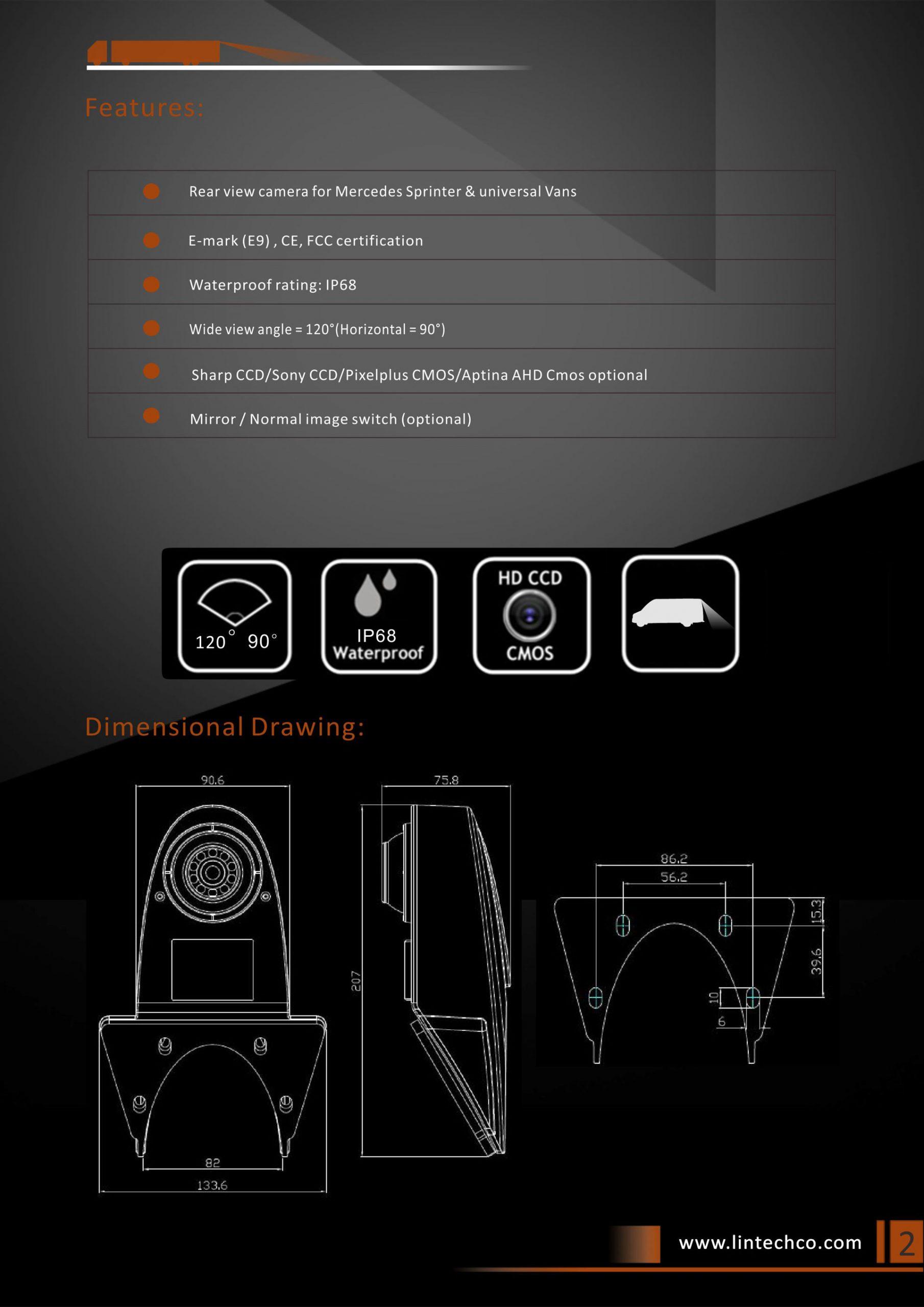 2.Rear View Camera For Mercedes Sprinter & Universal Vans