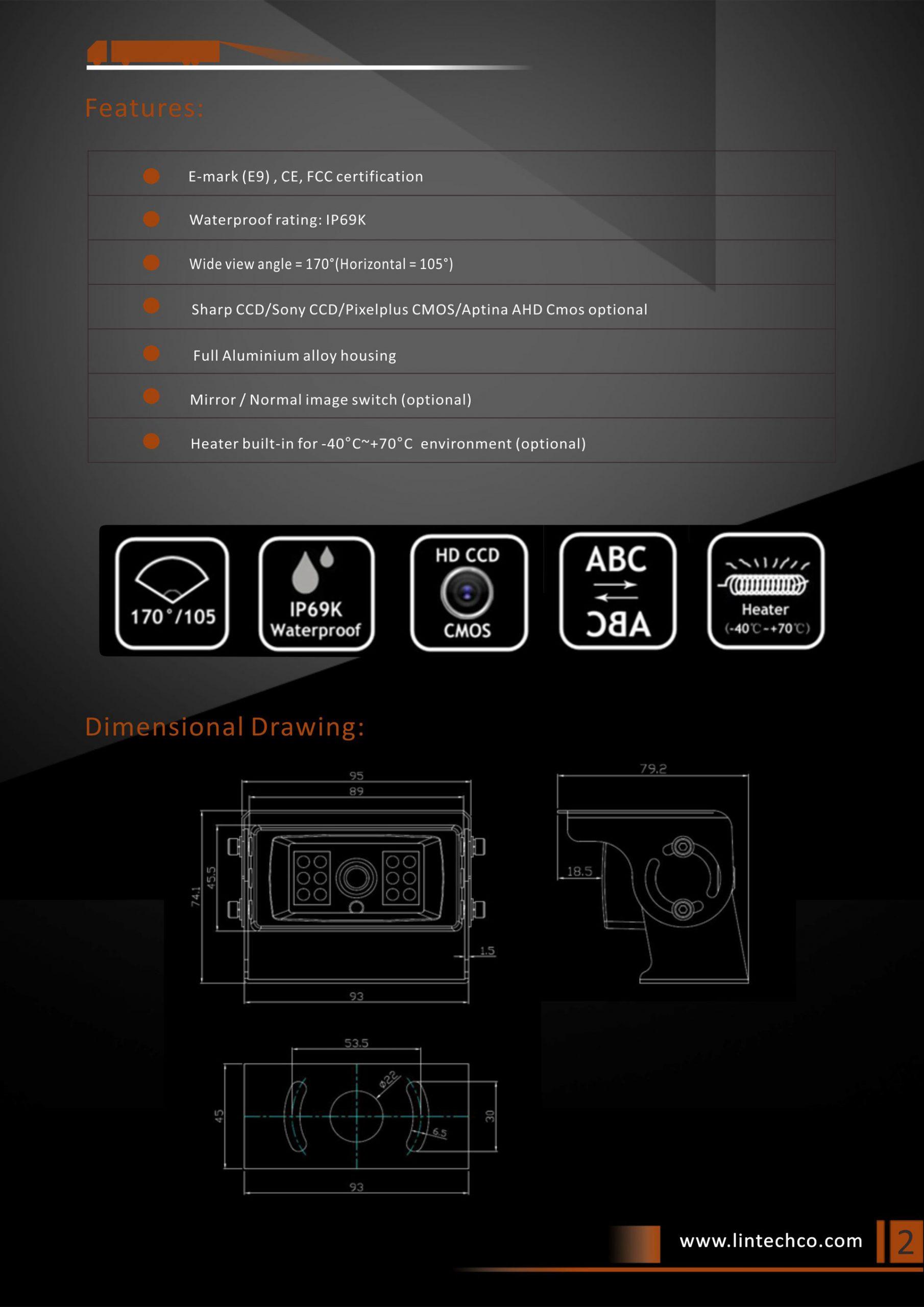 2.Wide View Angle Night Vision Waterproof Backup Camera