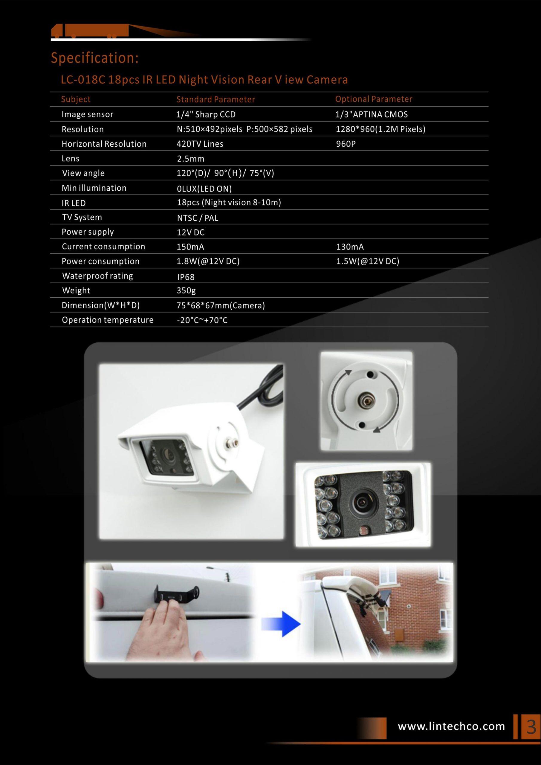 3.18pcs-IR-LED-Night-Vision-Waterproof-Rear-View-Camera
