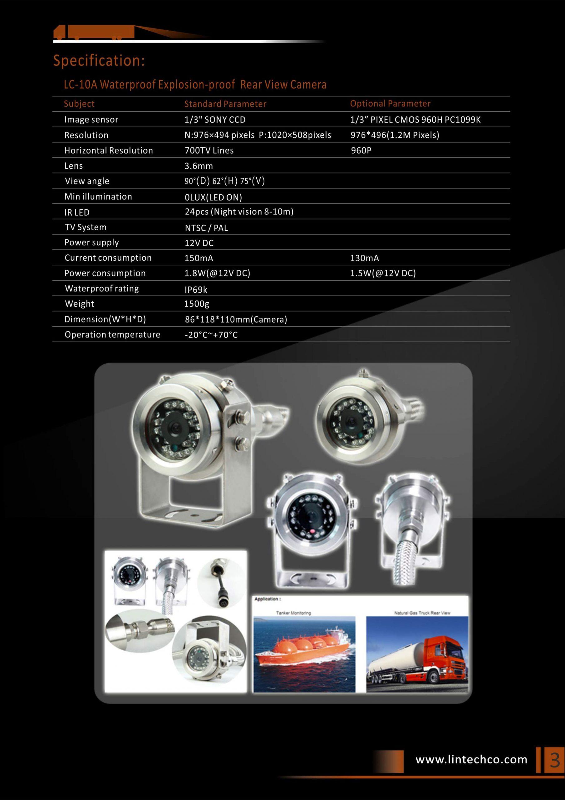 3.304 Stainless Steel Waterproof Explosion-proof Rear View Camera