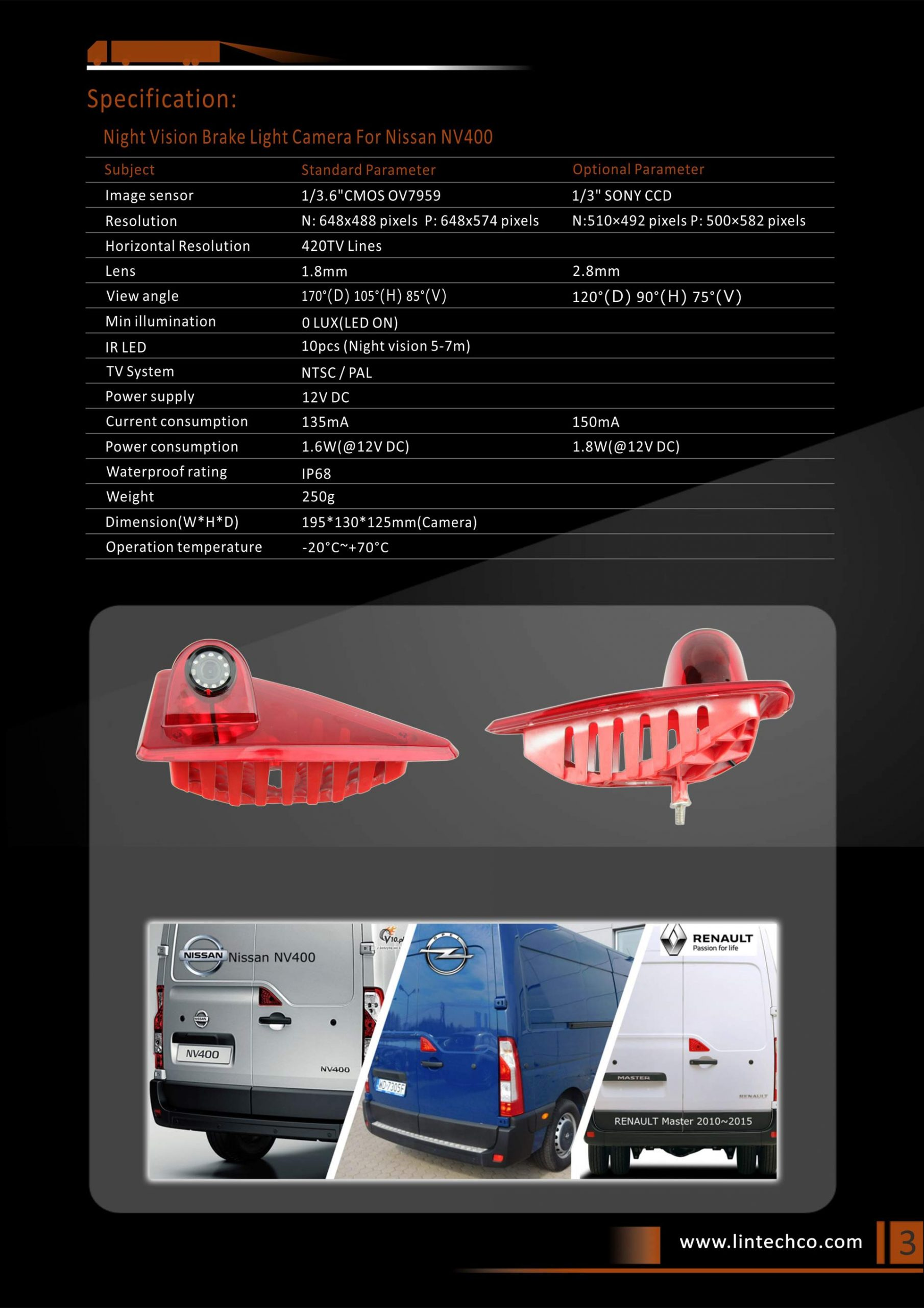 3.Night Vision Brake Light Camera For Nissan NV400