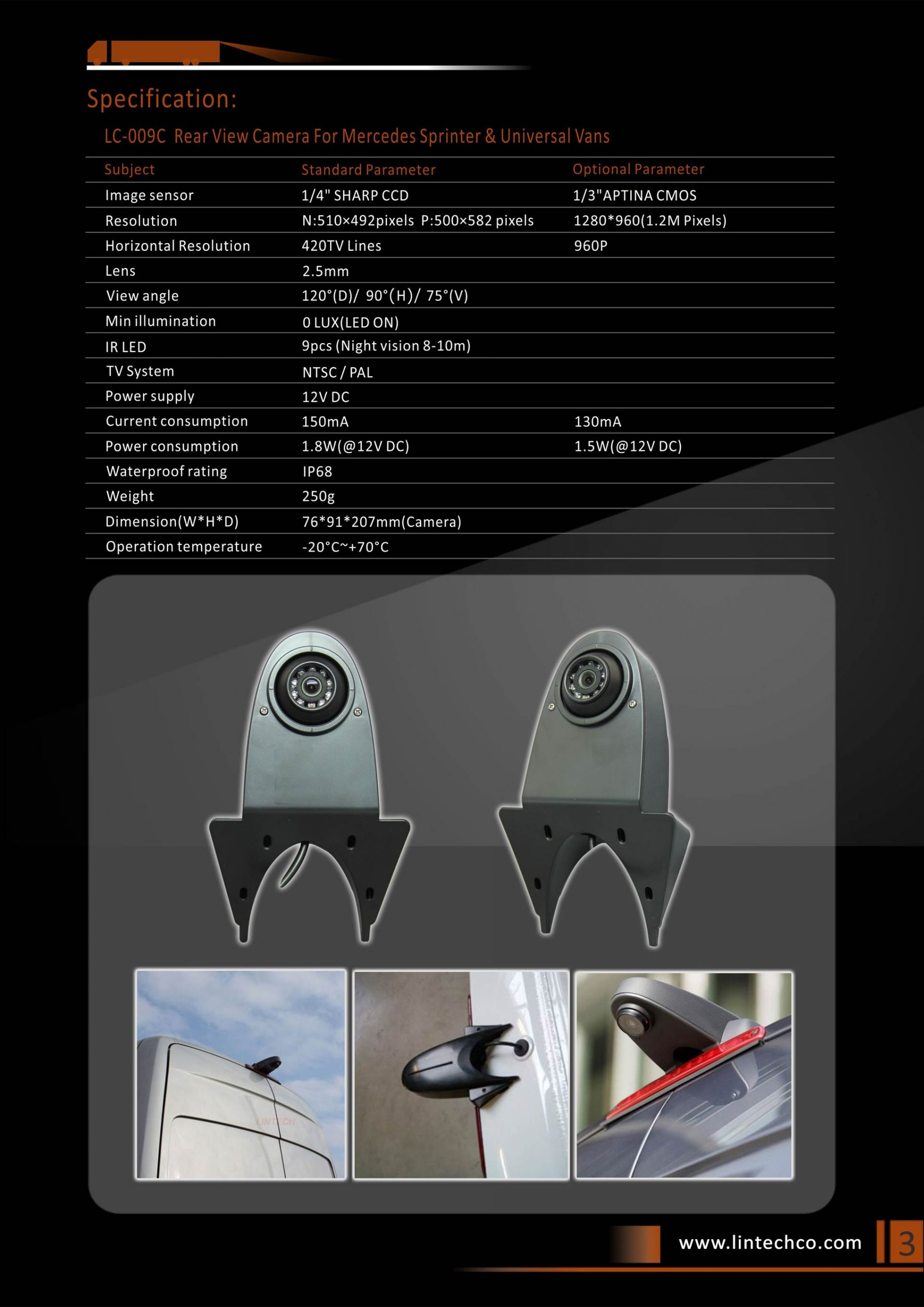 3.Rear View Camera For Mercedes Sprinter & Universal Vans