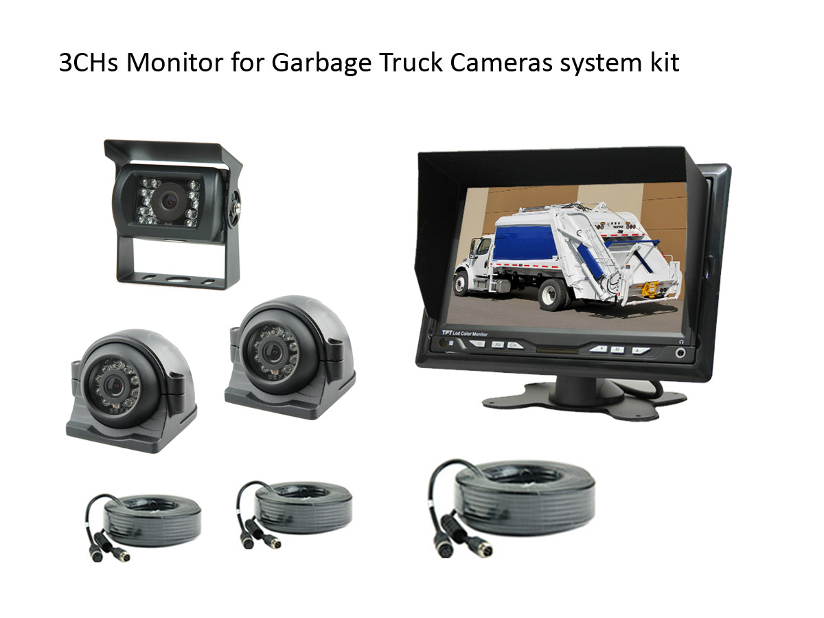 3CHs Monitor Backup Cameras system for Garbage Truck