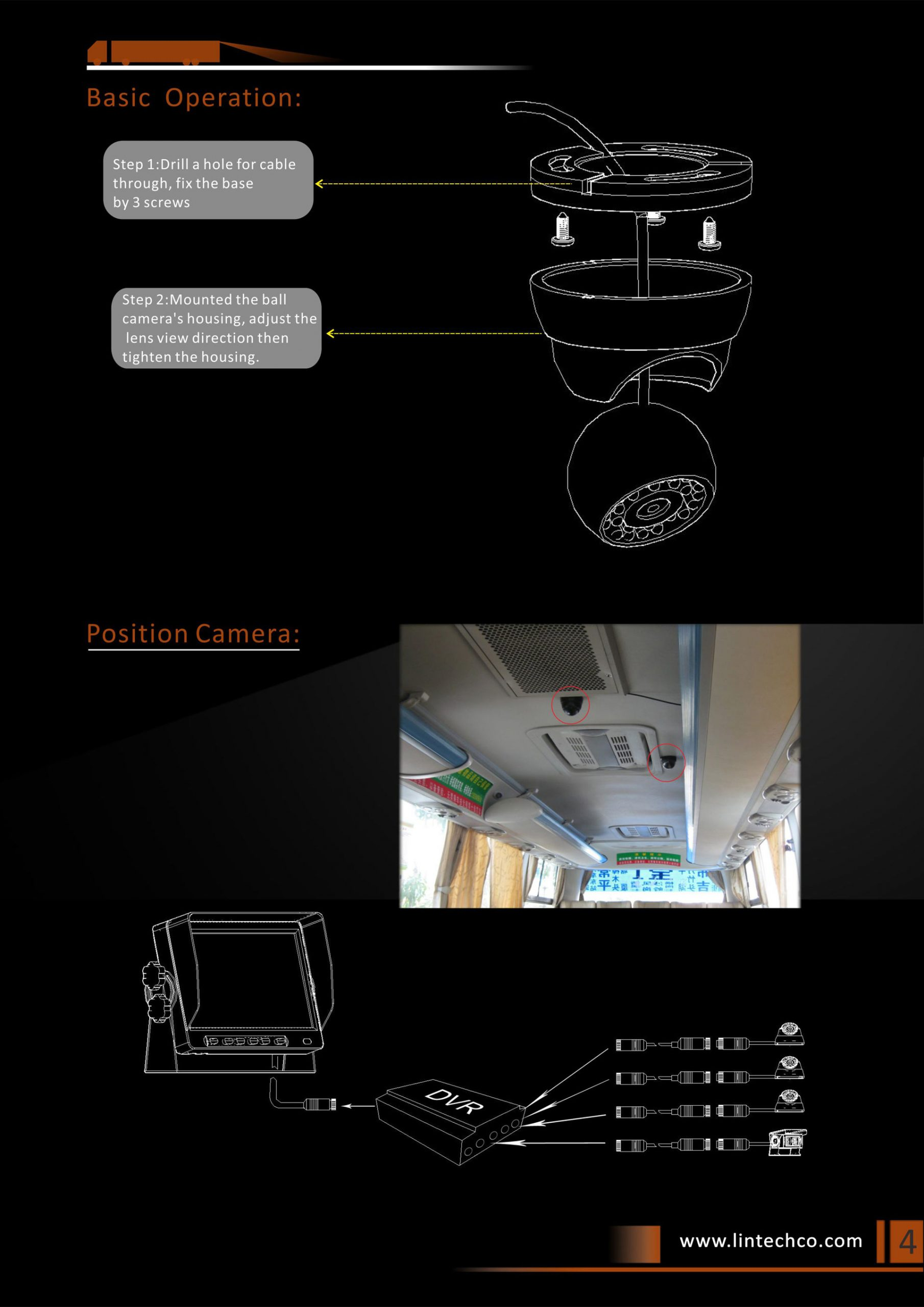 4. Inside Bus Truck Dome CCTV Camera For Video Recording Monitoring Application