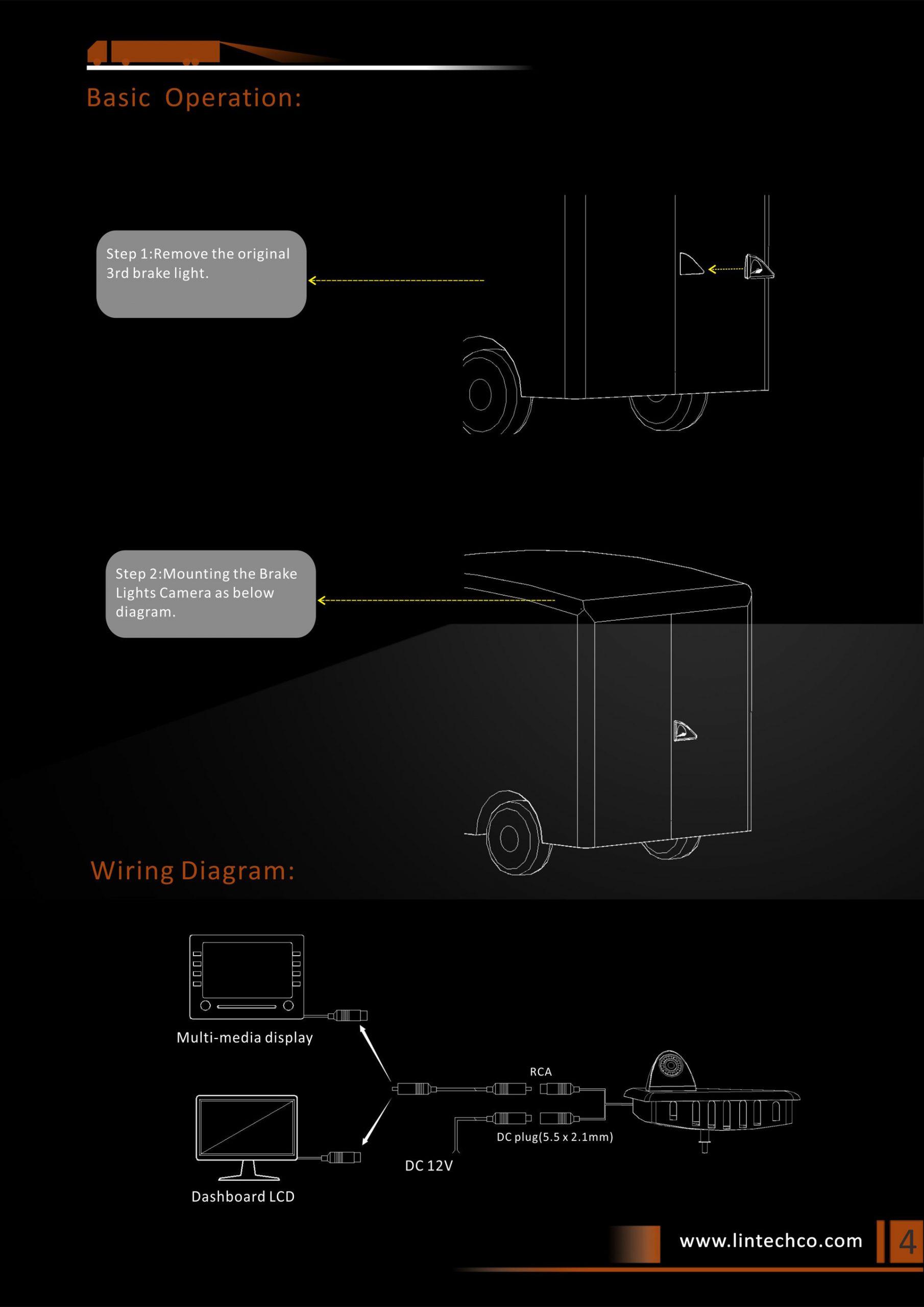 4.Night Vision Brake Light Camera For Nissan NV400