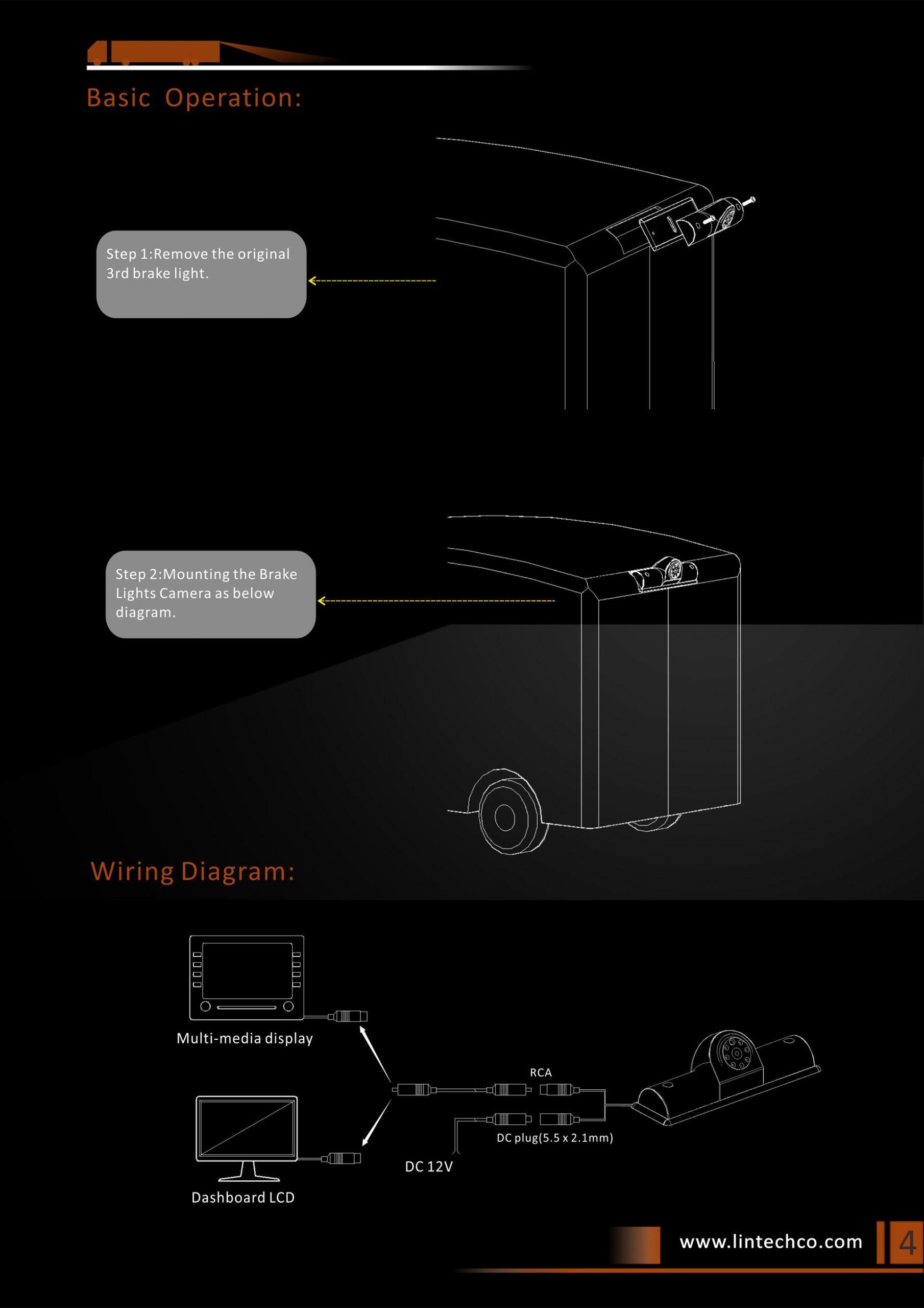 4.Night Vision Brake Light Camera for Universal Vans