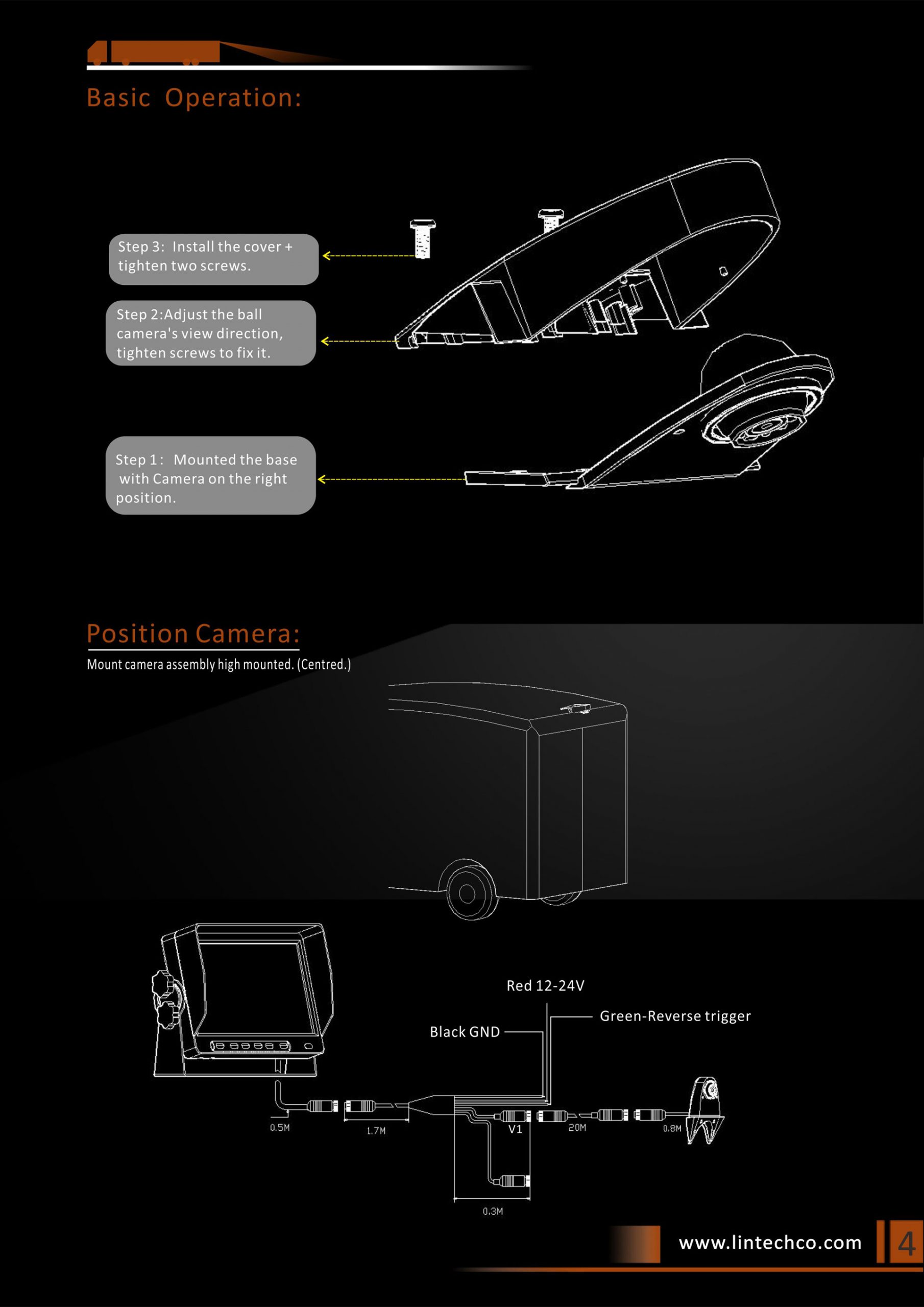 4.Rear View Camera For Mercedes Sprinter & Universal Vans