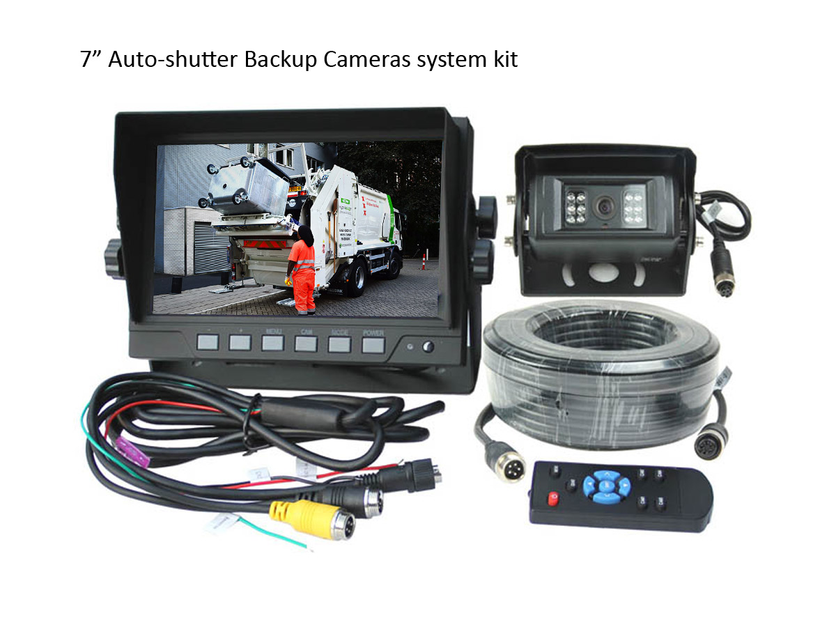 7 inch Auto-shutter Cameras Rear view system kit