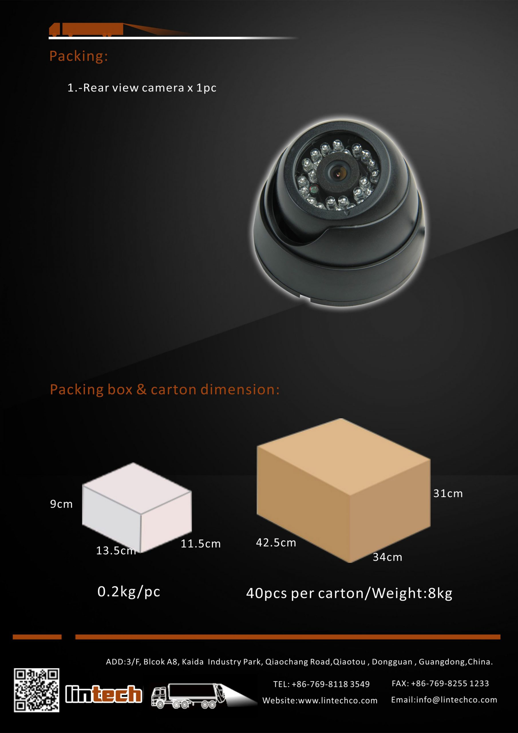 8. Inside Bus Truck Dome CCTV Camera For Video Recording Monitoring Application