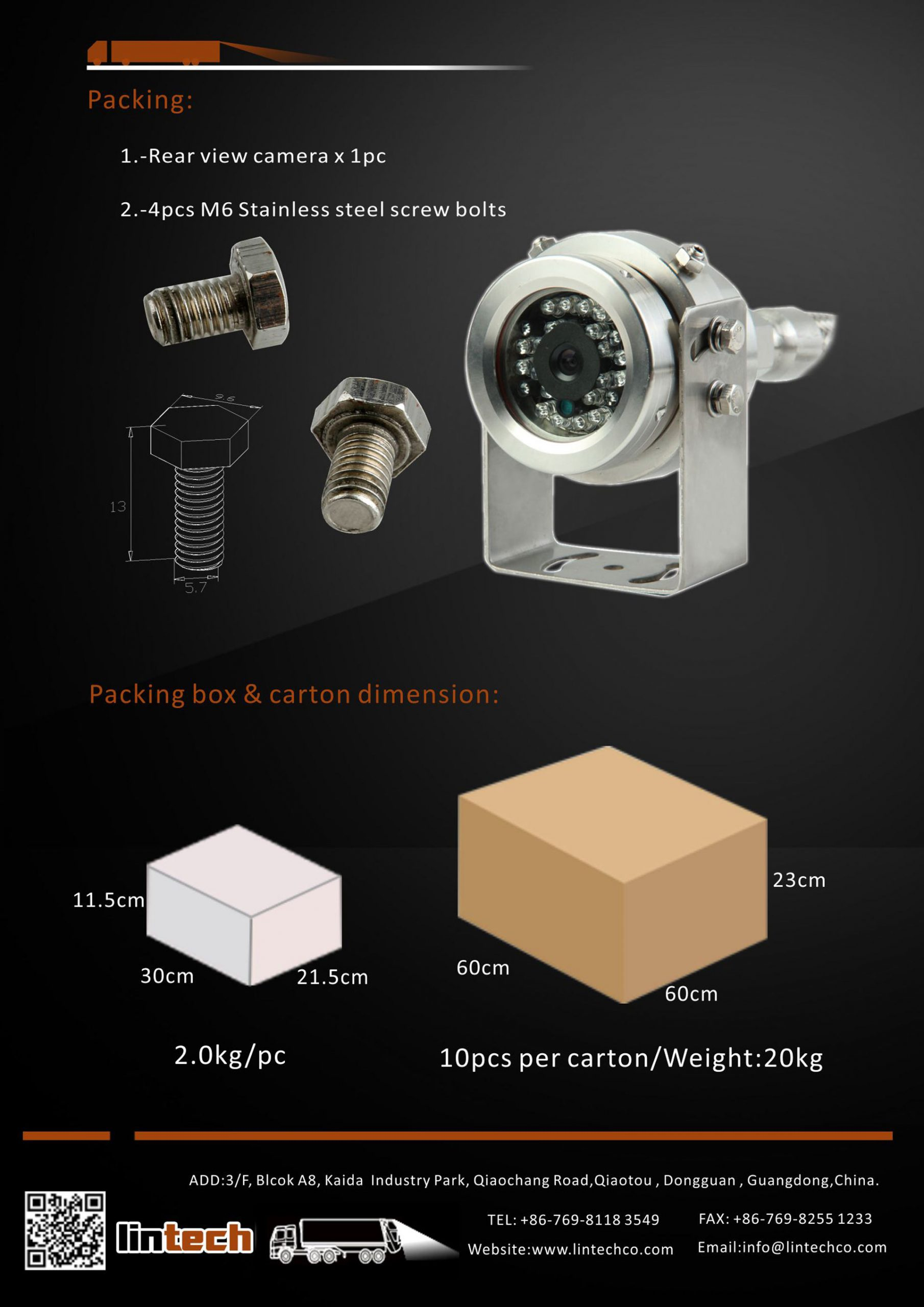 8.304 Stainless Steel Waterproof Explosion-proof Rear View Camera