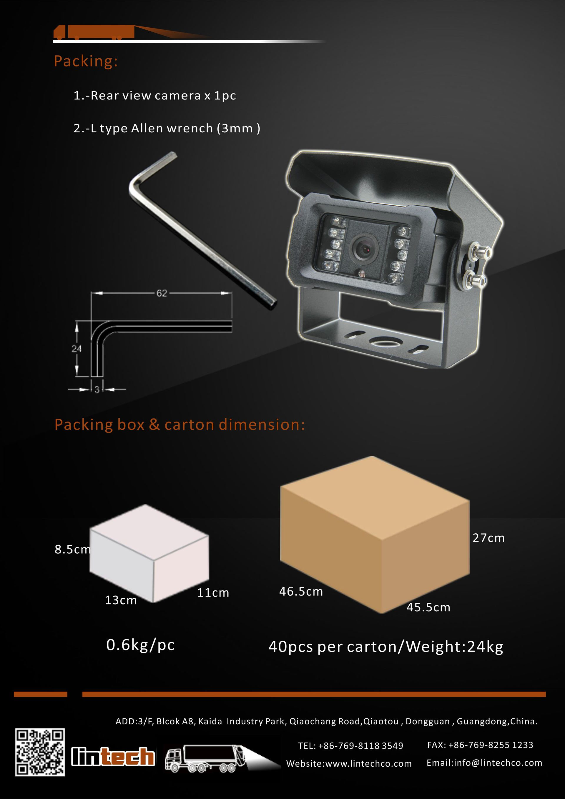 8.New Appearance Night Vision IP69K Waterproof Backup Camera