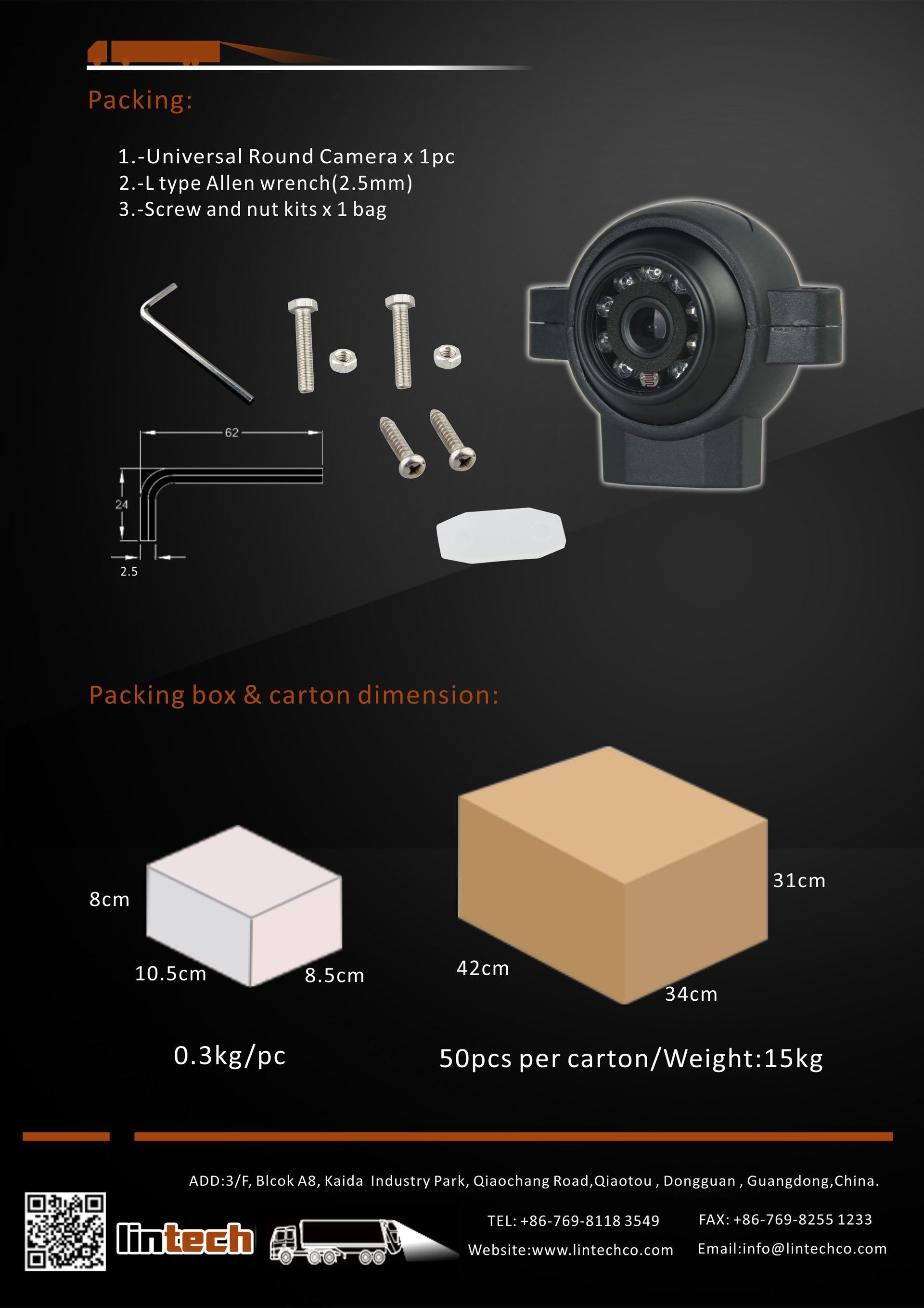 8.Night Vision Rear-Side-Front View Camera Universal