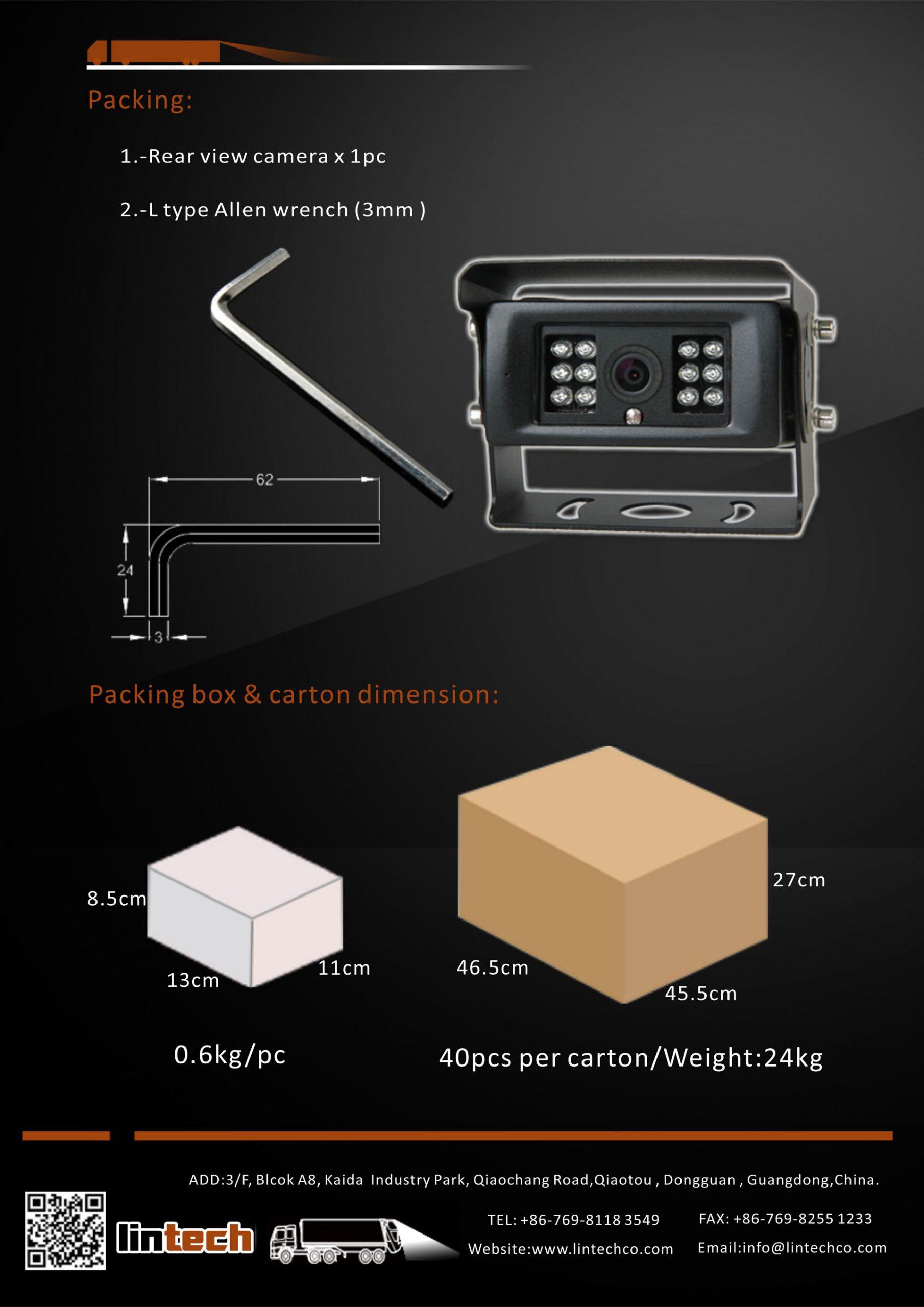 8.Wide View Angle Night Vision Waterproof Backup Camera