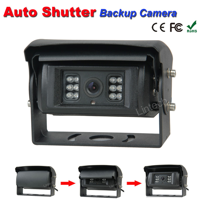 Auto-shutter backup camera for refuse waste Trucks