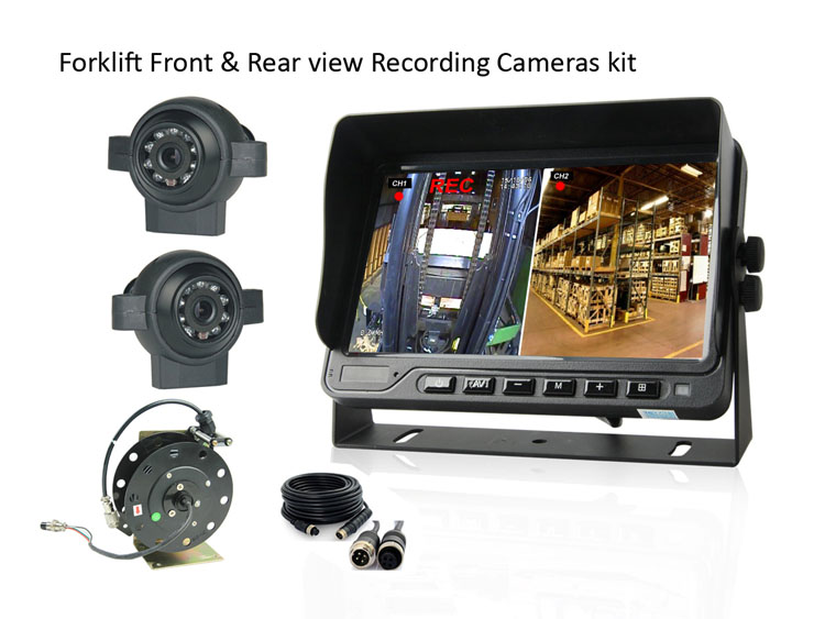 Forklift front and rear view camera DVR monitor system