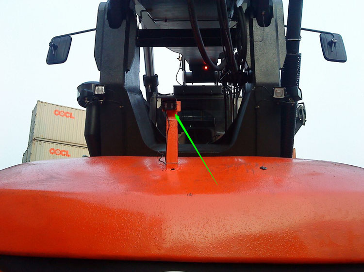 Forklift rear view camera installed